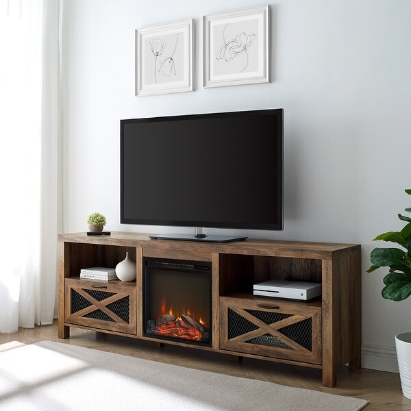 The Gray Barn 70-inch Rustic Fireplace TV Console. Opens flyout.