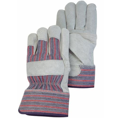 HandMaster TB625ET Men's Leather Palm Work Glove, Large, Gray