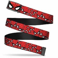 Marvel Comics Spider Man Face Close Up Fcg  Chrome Spider Man Stacked Web Belt