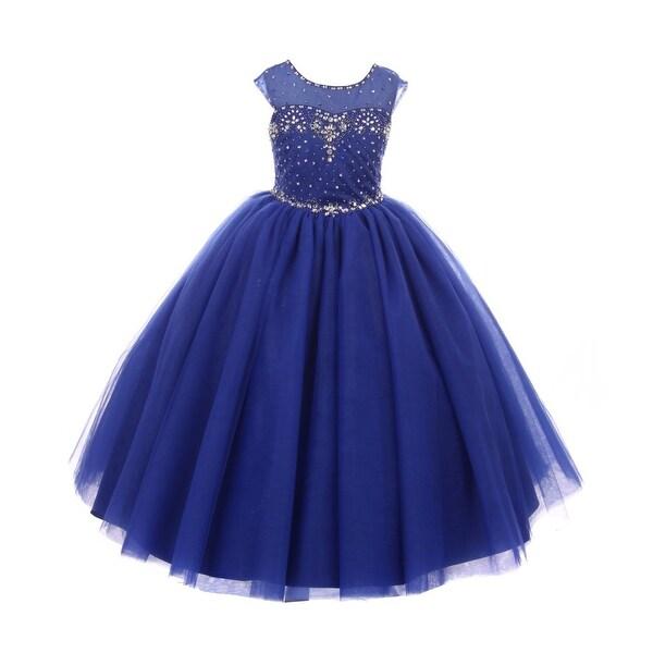 b35b9250 Rain Kids Little Girls Royal Blue Sequin Rhinestone Tulle Pageant Dress