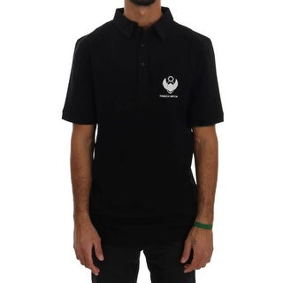 Frankie Morello Black Cotton Stretch Polo T-Shirt
