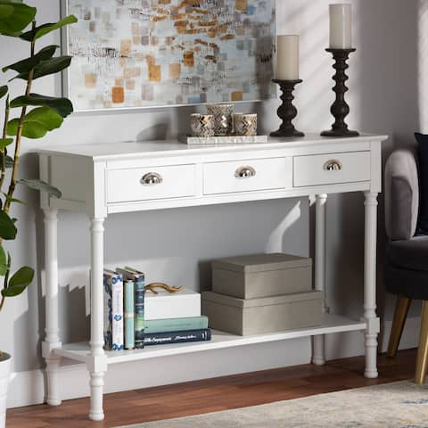 Garvey White Finished Wood 3-Drawer Entryway Console Table