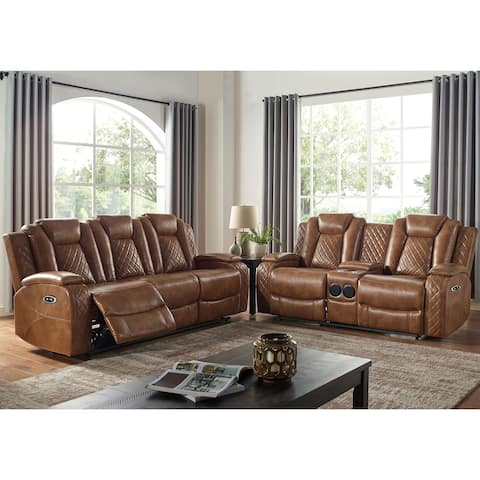 Furniture of America Yoma Transitional Brown 2-piece Living Room Set