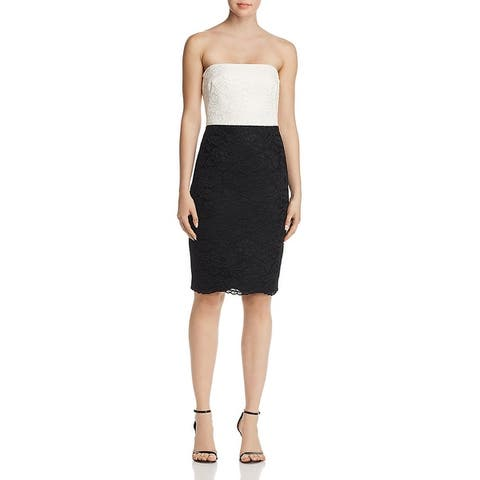 Black Halo Womens Coralee Cocktail Dress Lace Strapless - Black/Chantill