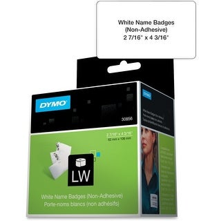 DYMO LW Non-adhesive Name Badge Labels for LabelWriter Label Printers, White, 2-7/16'' x 4-3/16'', 1 roll of 250 (30856)