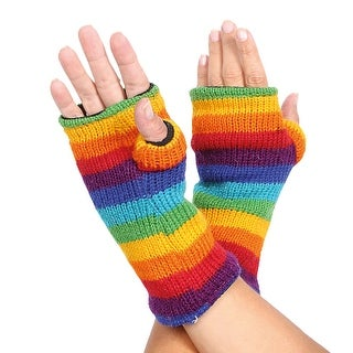 Women's Color Spectrum Knit Wool Fingerless Mitten Hand Warmies - MEDIUM