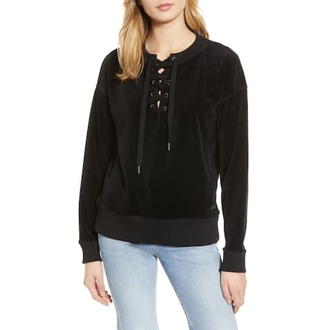 Roxy Black Womens Size XL Ribbed-Velour Lace-Up StretchSweatshirt