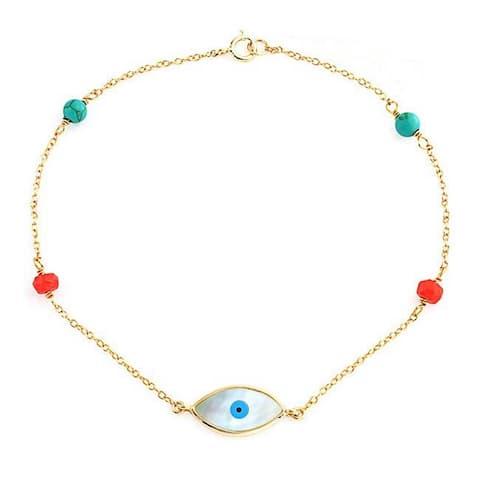 """Evil Eye Ball Bracelet Beaded Enhanced Turquoise Imitation Coral Bracelet For Women Teens 14K Gold Plated 925 Silver 7"""""""