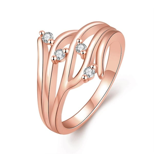 Rose Gold Crystal Jewels Abstract Ring