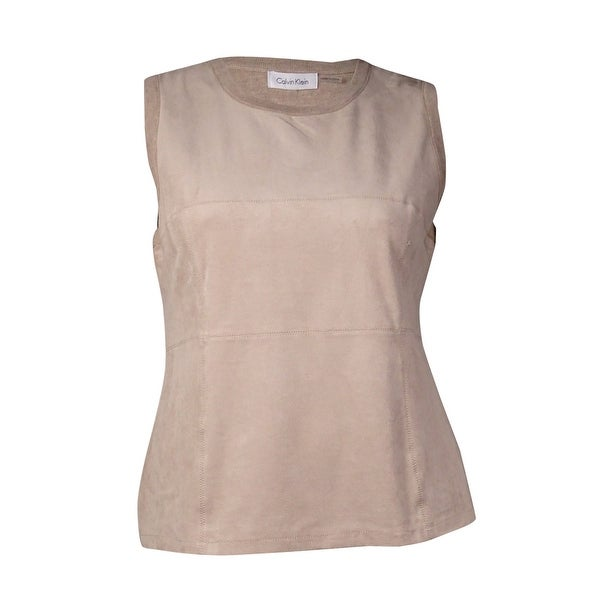 a52e577fbe2ca2 Shop Calvin Klein Women's Sleeveless Faux Suede Top (XL, Latte) - latte - XL  - Free Shipping On Orders Over $45 - Overstock.com - 15017694