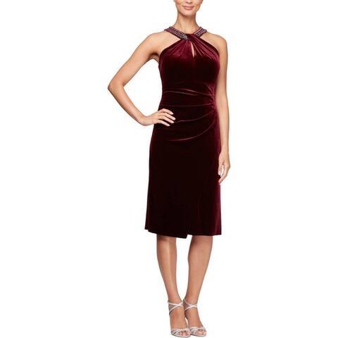 Alex Evening Women's Velvet Embellished Keyhole Halter Cocktail Dress