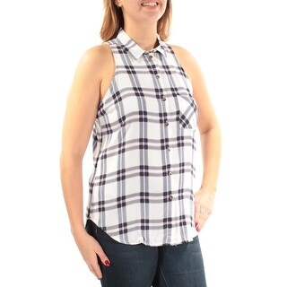 Womens White Navy Plaid Sleeveless Collared Casual Button Up Top Size L