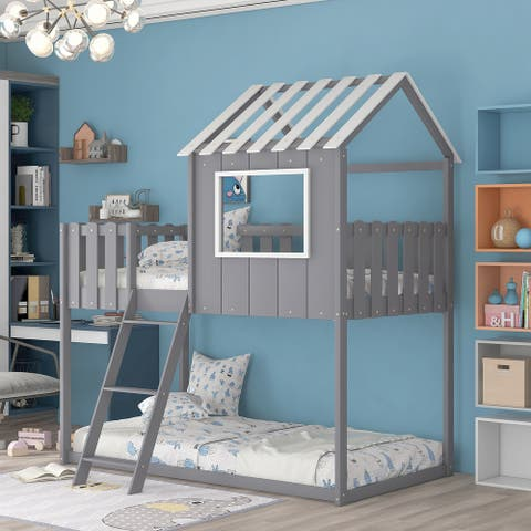 Bunk House Bed with Rustic Fence-Shaped Guardrail