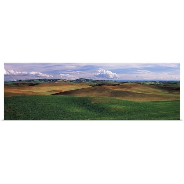 """""""Clouds over a rolling landscape, Palouse, Whitman County, Washington State,"""" Poster Print"""
