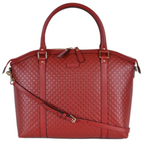 Gucci 449658 Large Red Leather Micro GG Guccissima Crossbody Satchel Purse