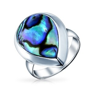 Bling Jewelry .925 Sterling Silver Abalone Shell Teardrop Shaped Ring - Blue