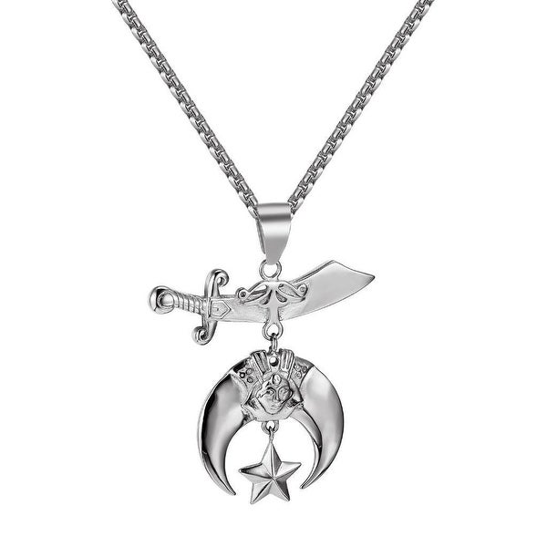 Shriners Symbol Mason Pendant Stainless Steel Charm Box Necklace 24 Inch Classy