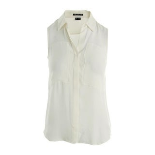 Theory Womens Petites Duria Silk Georgette Button-Down Top - p