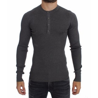 Dolce & Gabbana Dolce & Gabbana Gray Silk Henley Button Sweater