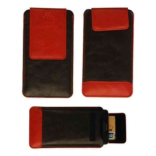 Wallet Diary Protector Case for Samsung Galaxy Note 4 (Black and Red Leather)