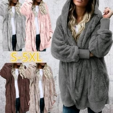 Women's Fashion Winter Warm Solid Color Cardigan Hoodies Coats Long Sleeve Knitted Sweaters Jackets