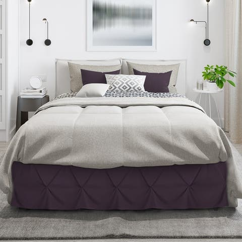 "Nestl Pinch Pleat Bed Skirt - Soft Premium Microfiber Ruffle Bed Skirt - 14"" Tailored Pintuck Wrap Around Dust Ruffle"