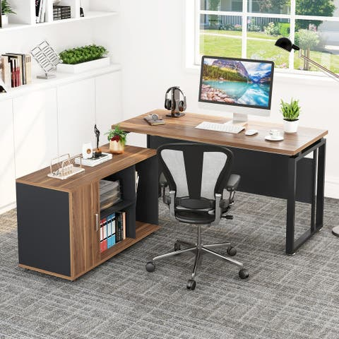 L-Shaped Computer Desk 55 Executive Desk with 39 File Cabinet Storage Two pieces