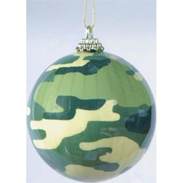 """3"""" Pleated Military Camouflage Decorative Christmas Ball Ornament - green"""