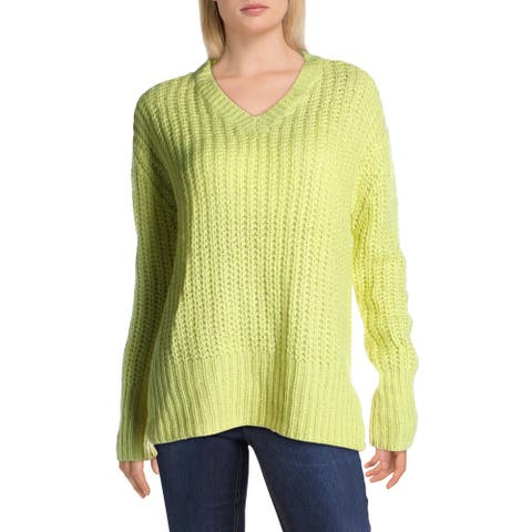 RD Style Womens V-Neck Sweater Knit Ribbed Trim - Sunny Lime