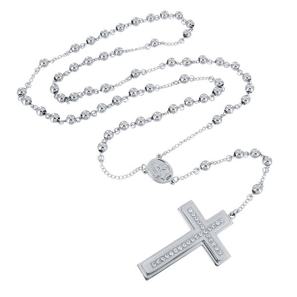 Mens Designer Rosary Stainless Steel Jesus Cross Pendant Beads Necklace - Silver