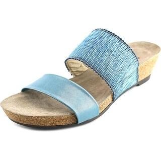 Munro American Riviera Open Toe Patent Leather Slides Sandal