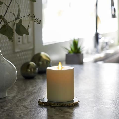 """LightLi Touch On/Off Moving Flame 3.25"""" x 4.5""""Pillar LED Candle"""