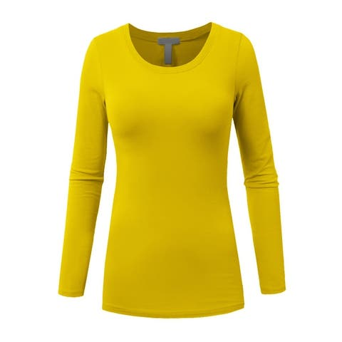 NE PEOPLE Womens Light Weight Basic Long Sleeve Round Crew Neck Casual T Shirt