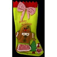 "17"" Gingerbread Kisses Lime Green and Gingham Red Striped Christmas Stocking"