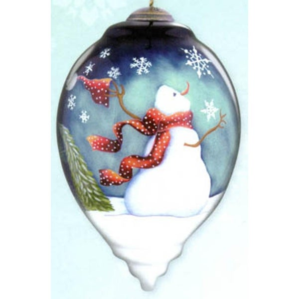 "Ne'Qwa ""Winter Magic"" Hand-Painted Blown Glass Christmas Ornament #7131139 - WHITE"