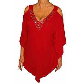 Funfash Plus Size Apple Red Angel Sleeves Womens Top Shirt Blouse Clothing
