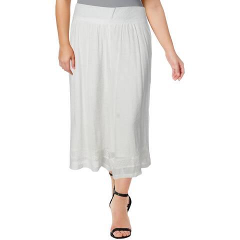 John Paul Richard Womens Plus Wide Leg Pants Gauze Pull On - White Apron - 2X