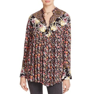 Free People Womens Tunic Top Floral Bell Sleeves