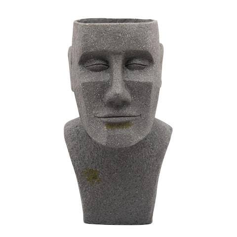"""19.75"""" Gray Outdoor Moai Bust Planter"""
