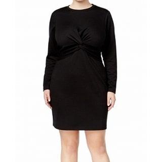 Whitespace Black Women's Size 3X Plus Twist Front Sheath Dress