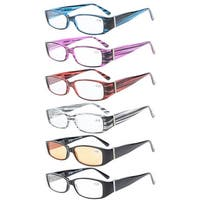 Women 6-Pack Spring Crystals Temple Readers Include Computer Reading Glasses+1.50
