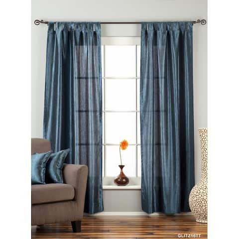 "Navy Blue Tab Top Textured Curtain / Drape / Panel - 84"" - Piece - 43 X 84 Inches (109 X 213 Cms)"