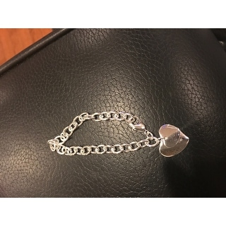 Vienna Jewelry Sterling Silver Duo-Heart Shaped Clasp Bracelet