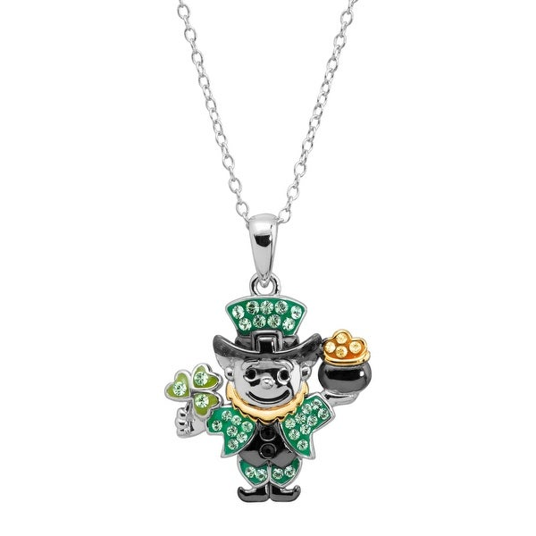 Crystaluxe Leprechaun Pendant with Swarovski Crystals in Sterling Silver - Green
