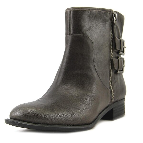 Nine West Just This Women Round Toe Leather Gray Ankle Boot