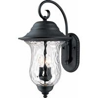 """Volume Lighting V8710 Aurora 3-Light 23.5"""" Height Outdoor Wall Sconce with Water Glass - antique iron - n/a"""