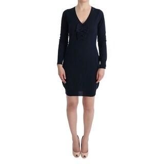 MARGHI LO' Blue Wool Long Sleeve Shift Dress