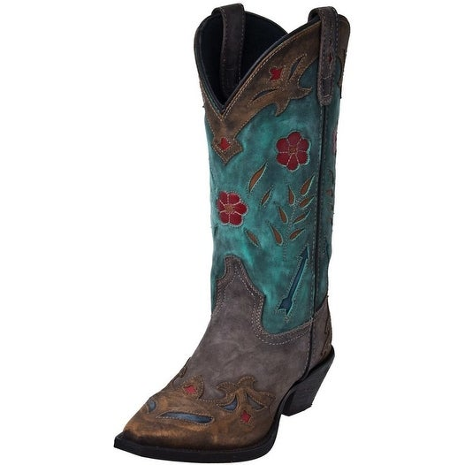 Laredo Western Boots Womens Miss Kate Arrow Snip Toe Tan Teal