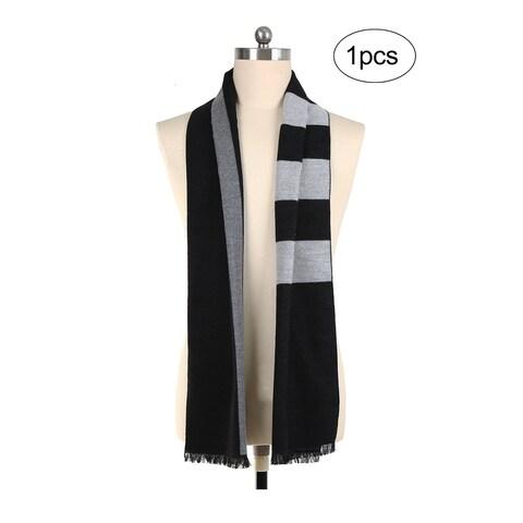Men Plaids Pattern Warm Soft Wrap Shawl Long Scarves Black+Gray
