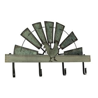 Half Metal Windmill Farmhouse Rooster Decorative Wood Wall Hook Rack - 15 X 24 X 2 inches